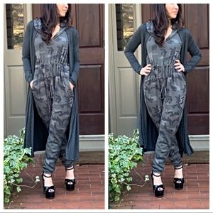 Pants - Camouflage hooded jumpsuit